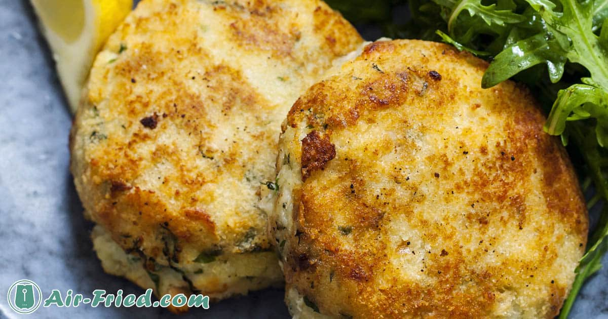 Gluten-free crab cakes in an air fryer
