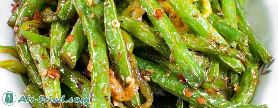 Asian style green bean dish in an air fryer