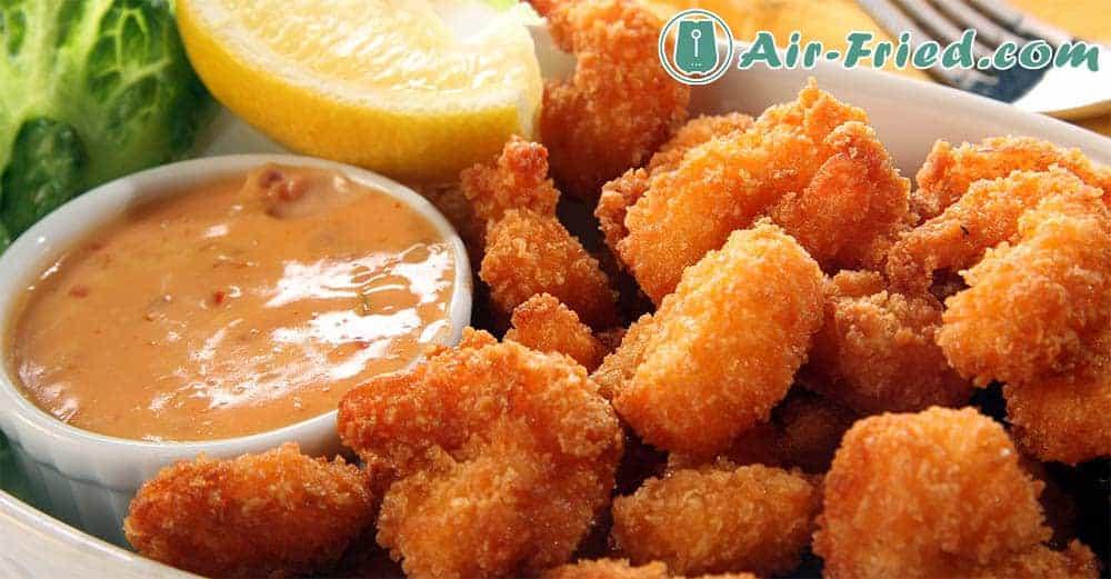 Air fryer popcorn shrimp with cocktail sauce
