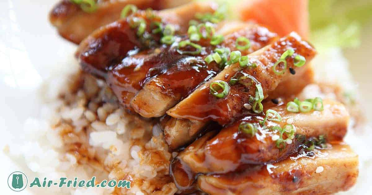 Air fried teriyaki chicken and rice