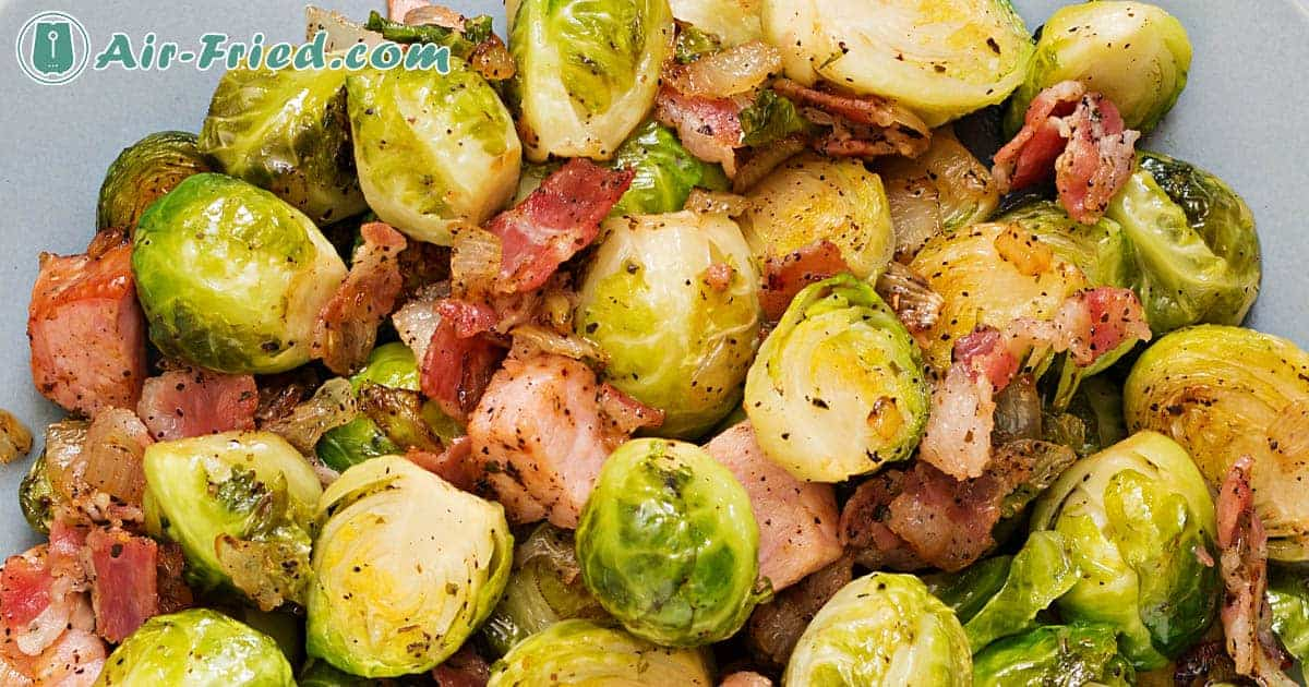 Brussels sprouts with pancetta in an air fryer
