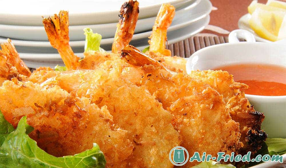 Air fryer coconut shrimp and dipping sauce