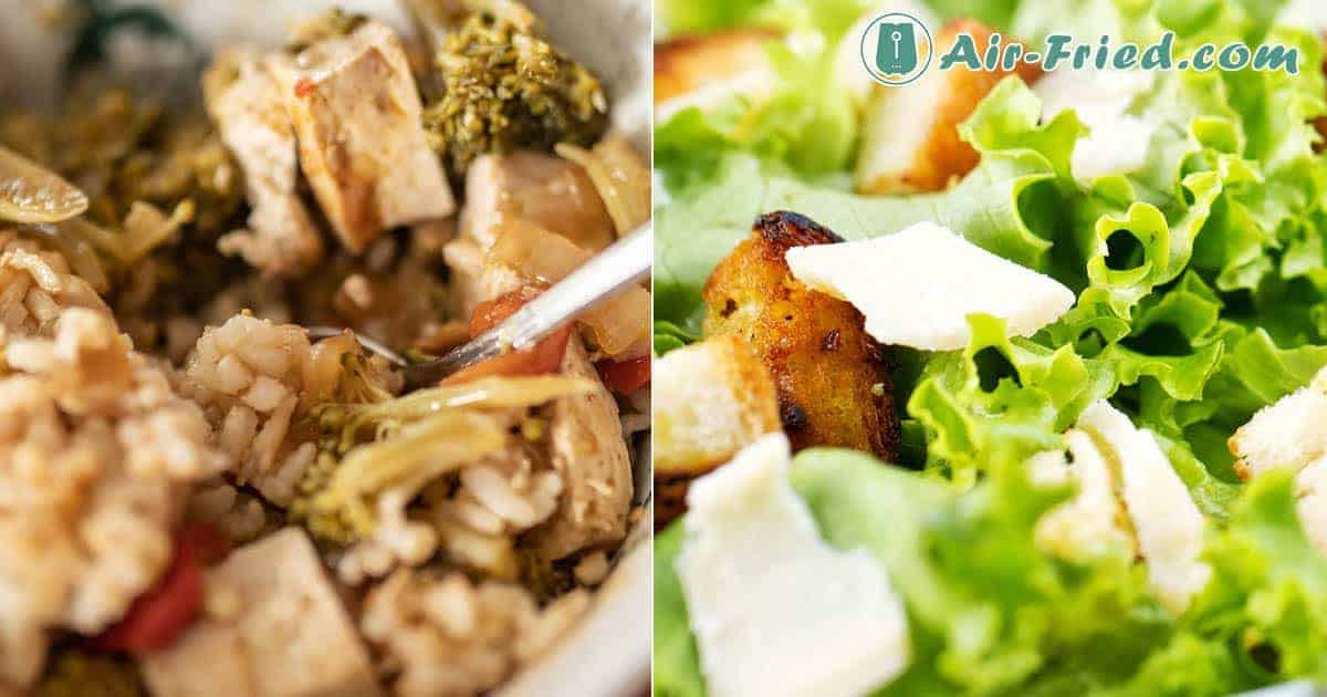 Tofu Croutons with Caesar Salad & Tofu and Vegetable Rice Bowl Recipe