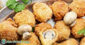 Breaded mushrooms in an air fryer
