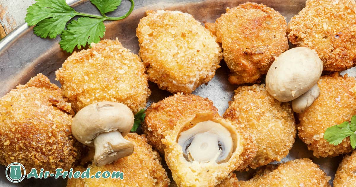 Air fryer Frozen Breaded Mushrooms with Two Dipping Sauces Recipe