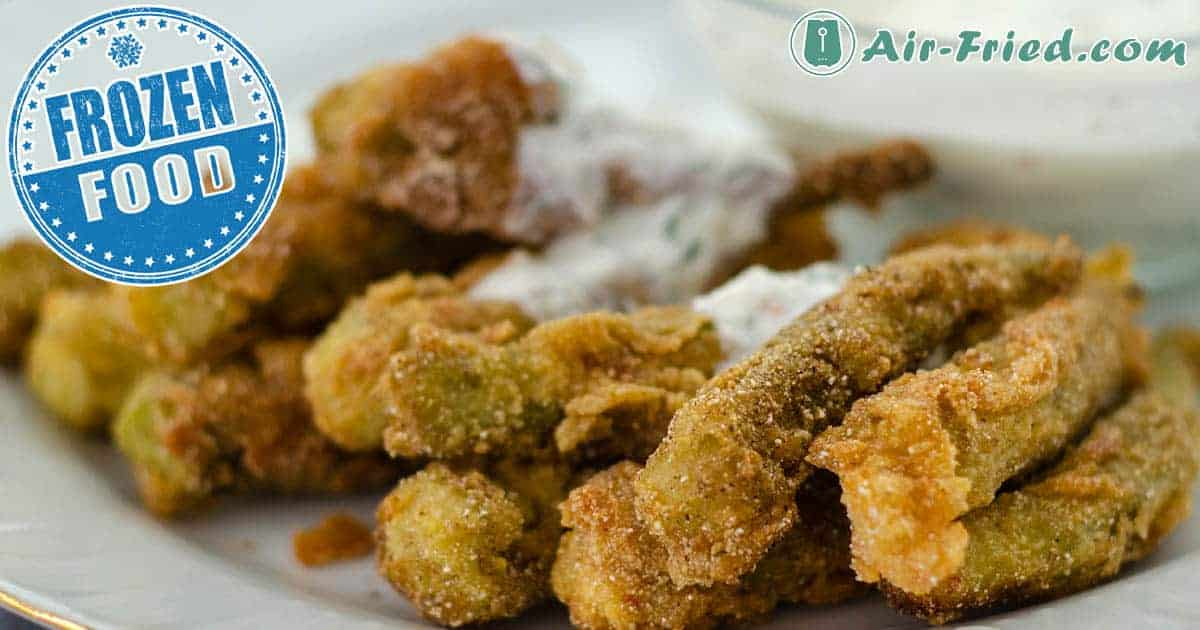 Air Fryer Frozen Breaded Okra with Buttermilk Dipping Sauce