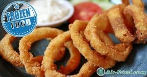 Frozen onion rings in an air fryer