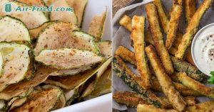 Zucchini fries and chips in air fryer