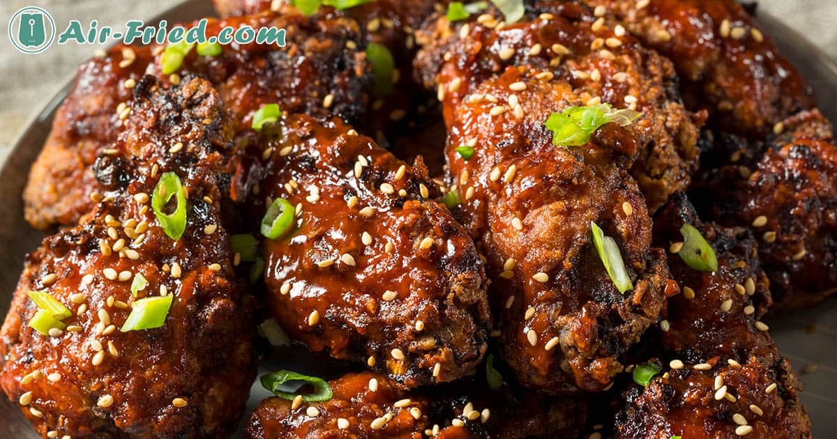 Spicy korean style chicken wings in air fryer